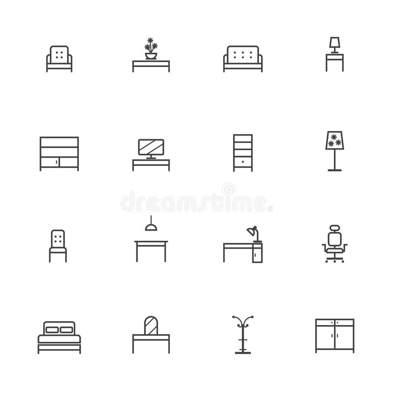 Home Furniture Icons Set, Line icon vector illustration