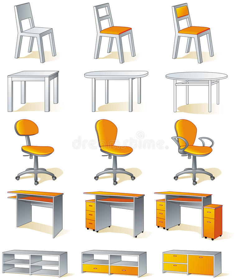 Download Home Furniture Isolated - Chairs, Tables Stock Photos - Image: 12254243