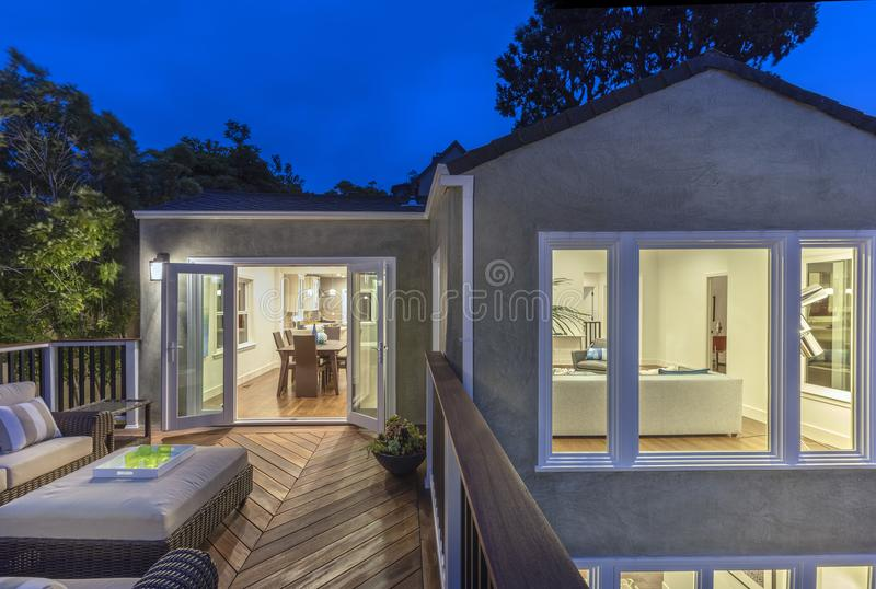 Download Home With Furniture Patio / Wooden Deck At Twilight. Editorial  Photo   Image Of