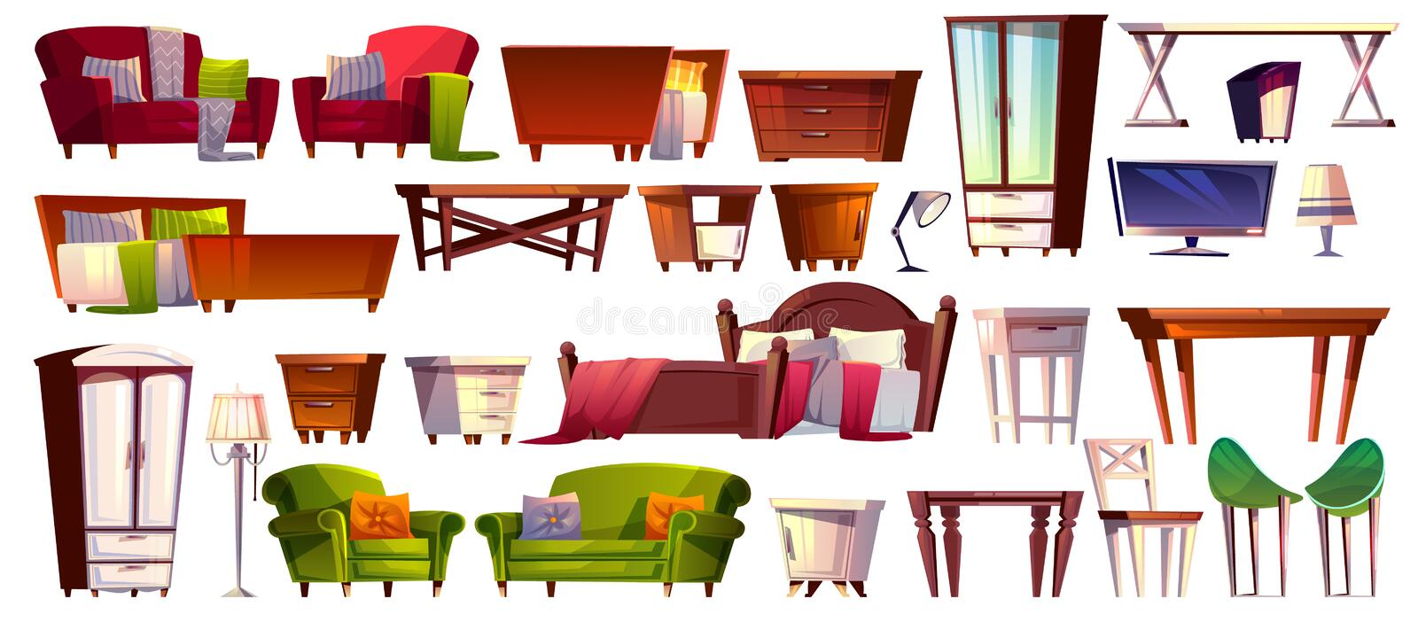 Home furniture vector isolated interior icons stock illustration