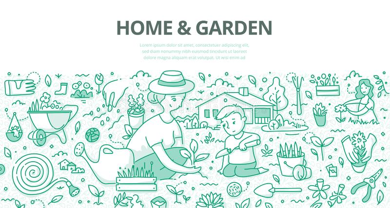 Home & Garden Doodle Concept stock illustration