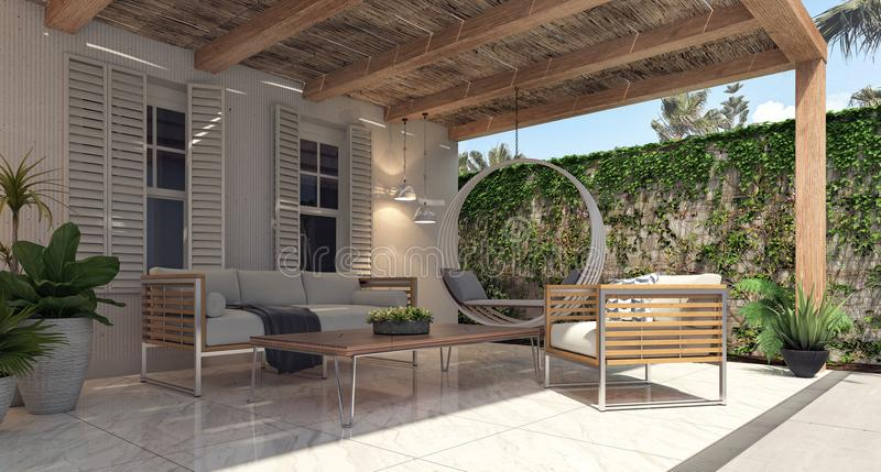 Home garden exterior and patio. 3D Rendering royalty free stock photos
