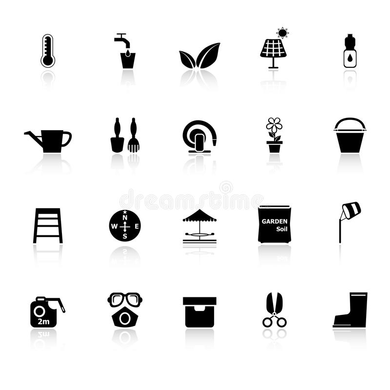 Home garden icons with reflect on white background. Stock stock illustration