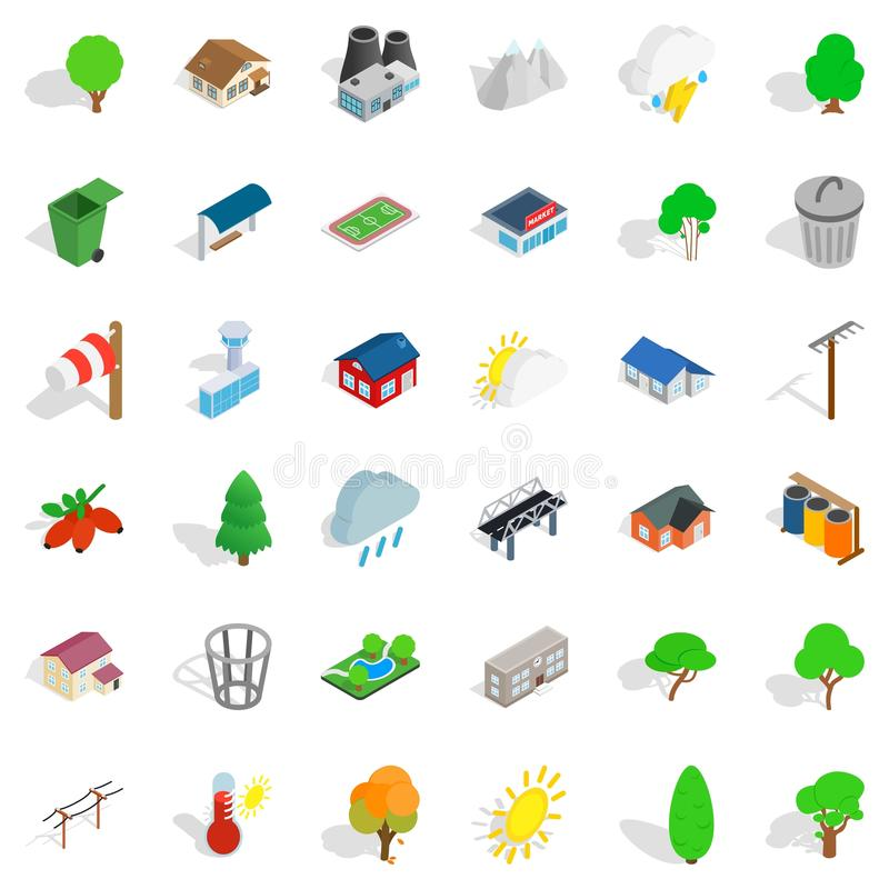 Free Home Garden Icons Set, Isometric Style Royalty Free Stock Photos - 111514018