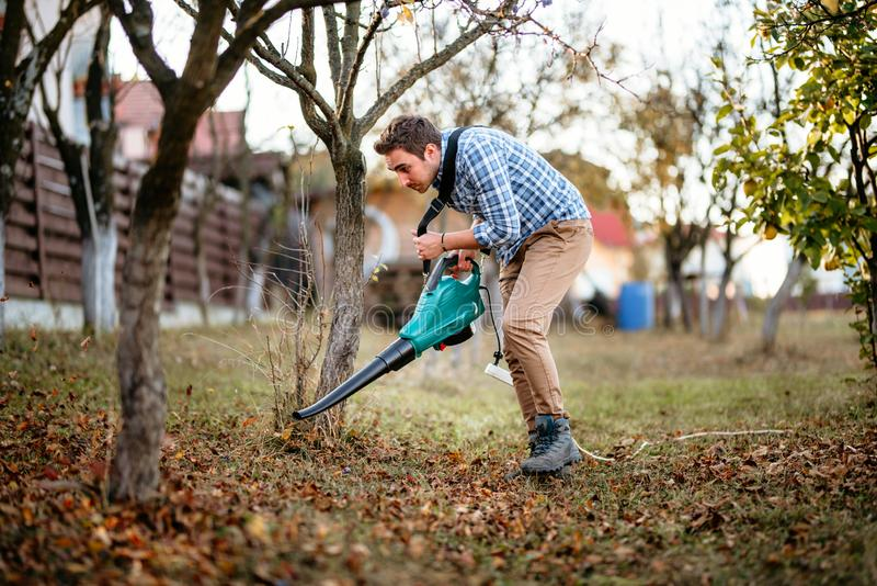 Home gardening details, man cleaning up the garden using leaf blower stock photos