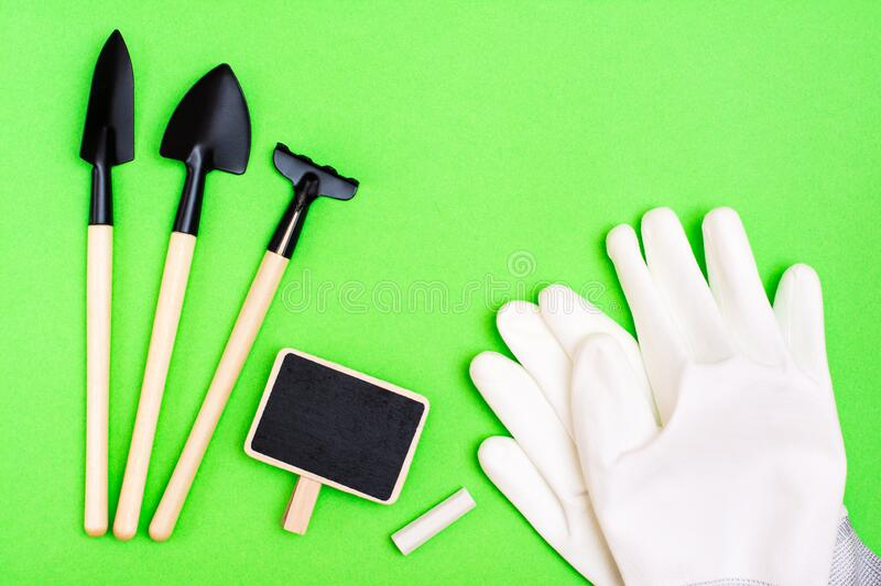Home gardening. Miniature gardening tools: scoop, rake, inscription board and chalk, garden gloves on green cardboard. Top view stock photography