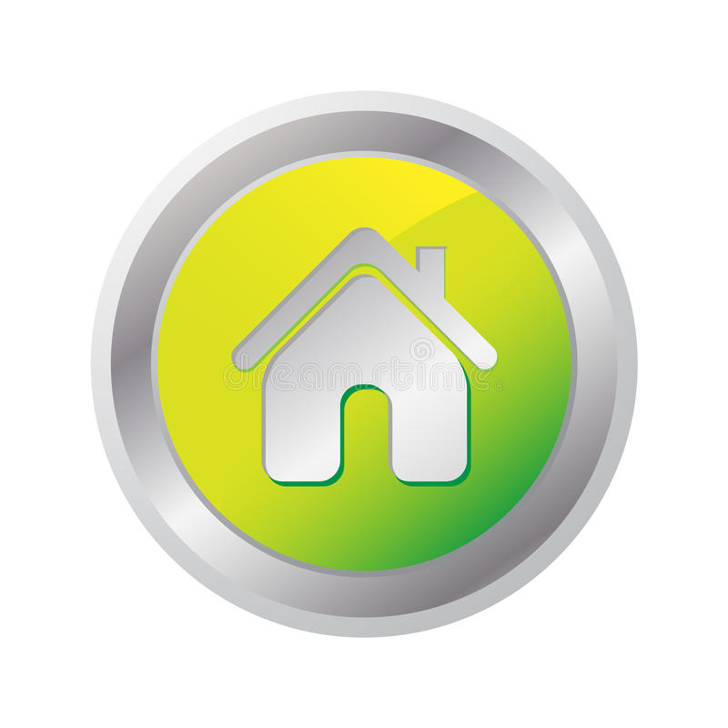Home glossy Icon. Isolated on white vector illustration