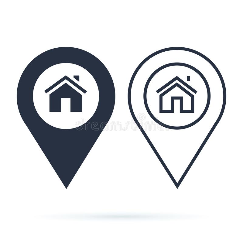 Home gps map pointer, map pin icon arrow pin, compass location. stock illustration