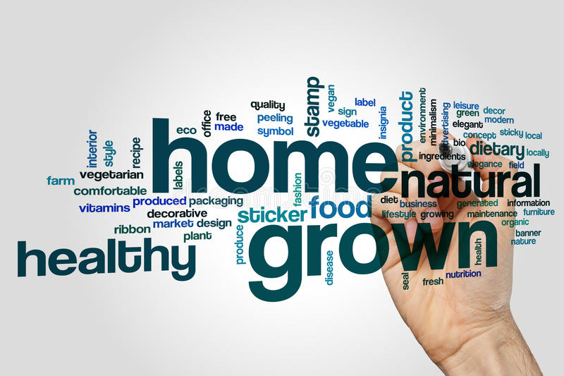 Home grown word cloud. Concept stock photo