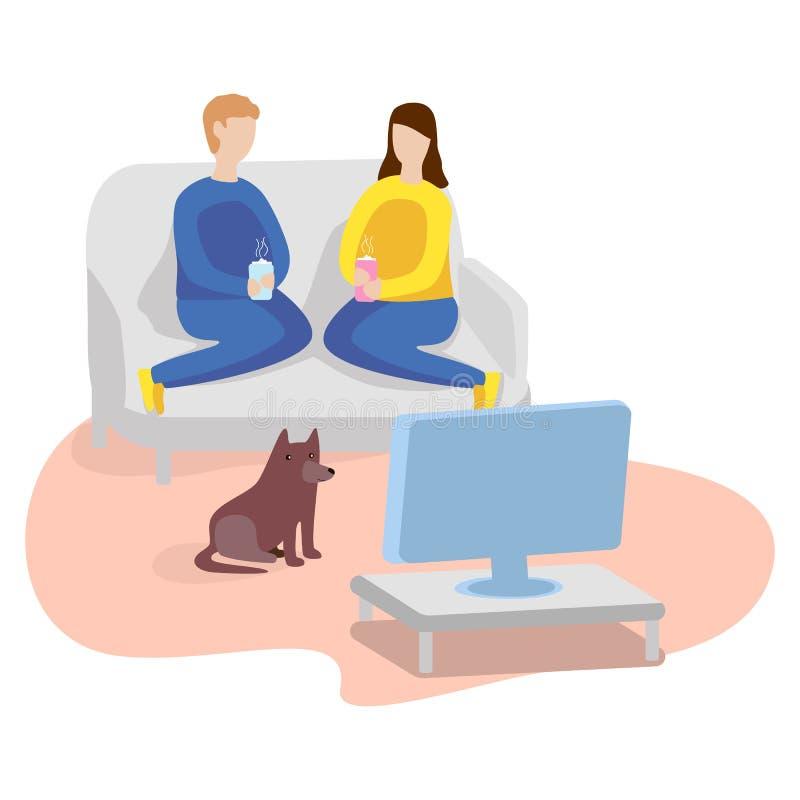 home hålla ögonen på för tv Man, kvinna och hund Plan illustration royaltyfri illustrationer