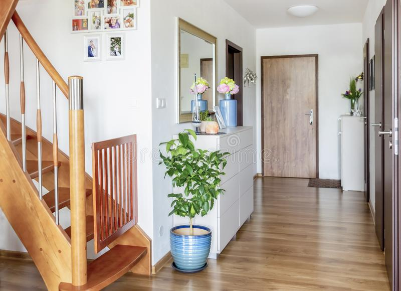Home hallway with wooden floor, white furniture and mirror stock photography