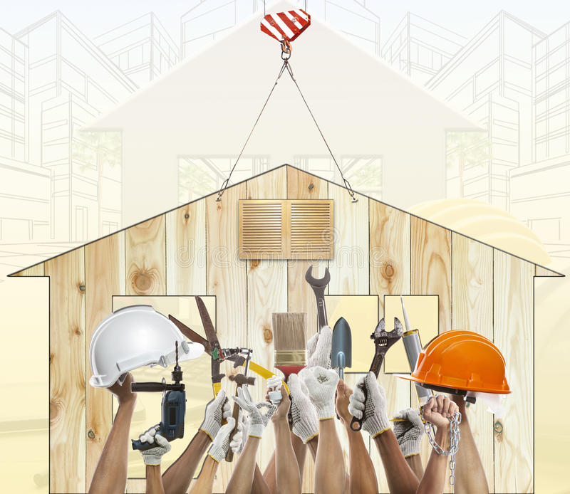 Home and hand rising diy tool equipment against wood house use f stock image