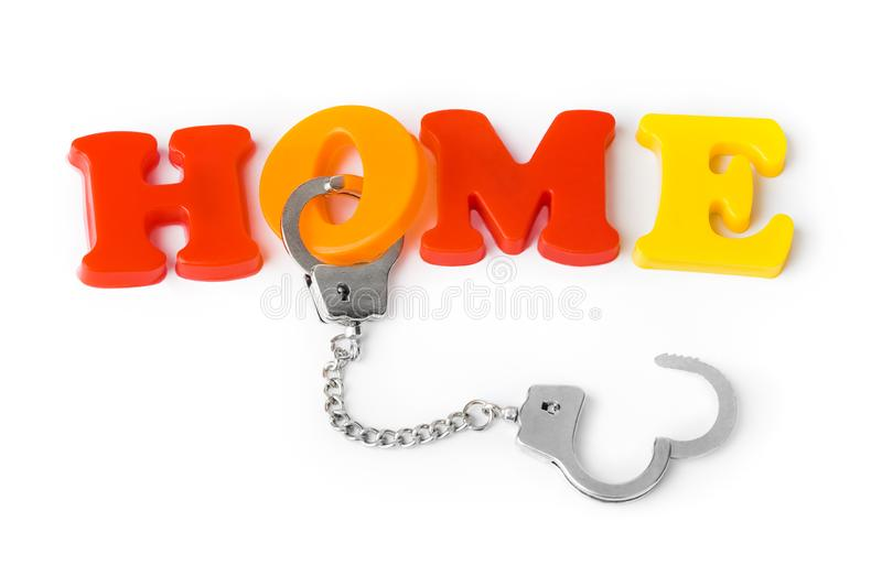 Home and handcuffs. Isolated on white background vector illustration
