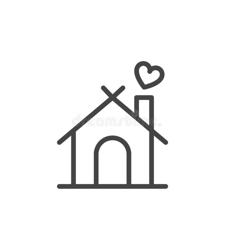 Home with heart icon vector isolated modern outline on white background royalty free illustration