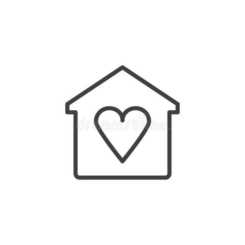 Home with heart outline icon. Linear style sign for mobile concept and web design. Love house simple line vector icon. Symbol, logo illustration. Pixel perfect vector illustration