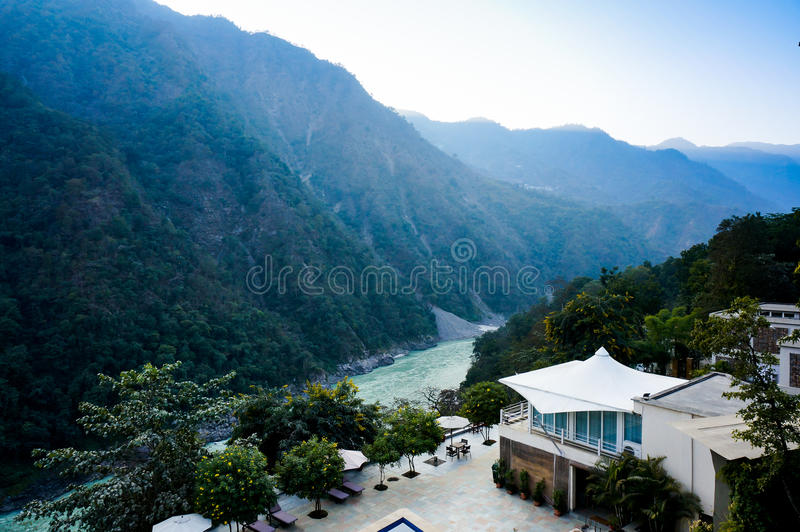 Home in the himalya mountains. On the edge of the ganges river. Beautifully located in the valley stock photos