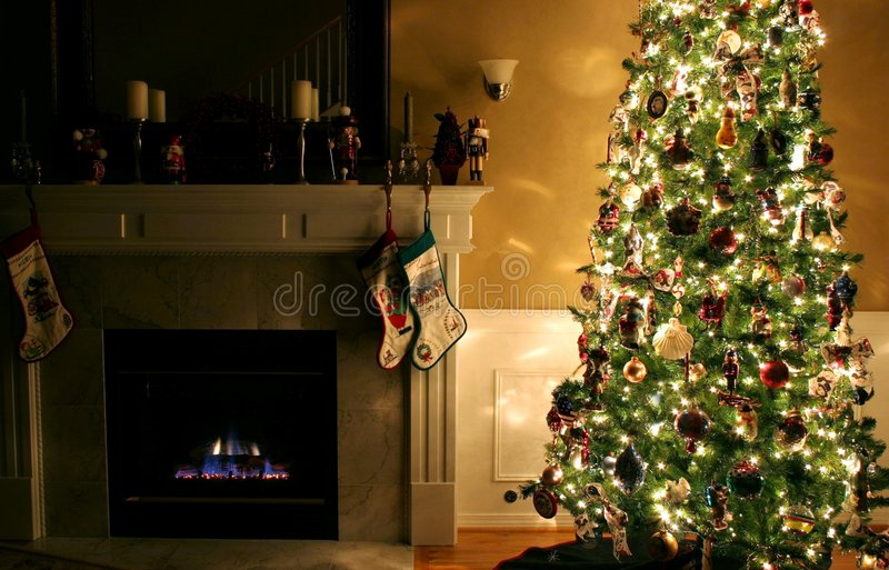 Home for the Holidays. An interior of a family room decorated for Christmas royalty free stock photos