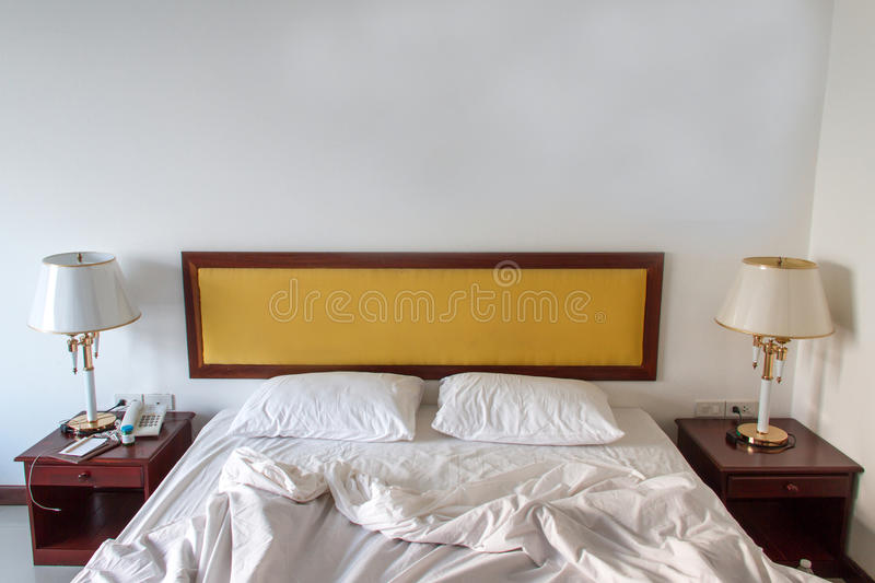 Home and hotel bedroom. Beautiful and modern home and hotel bedroom stock image