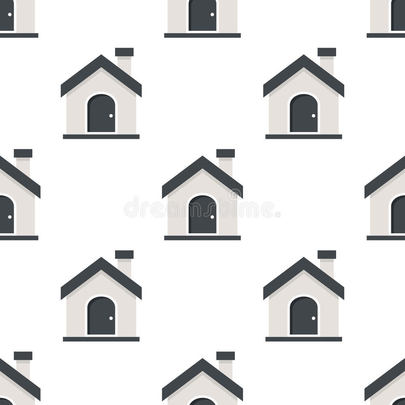 Home or House Flat Icon Seamless Pattern royalty free illustration