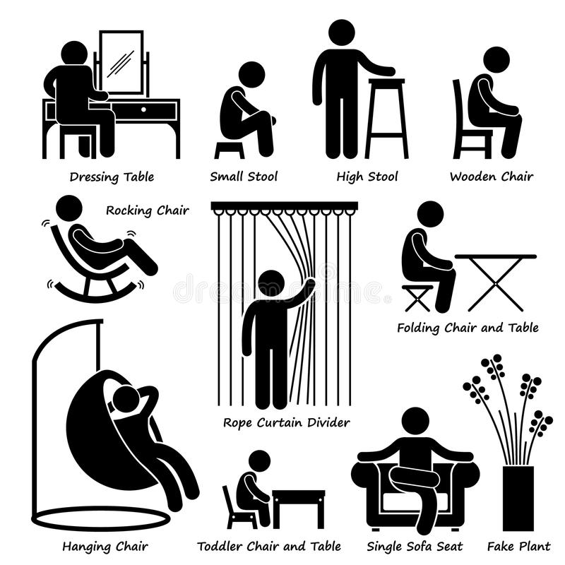 Home House Furniture and Decorations Cliparts. A set of human pictogram using different type of home objects. They are man using dressing table, small stool