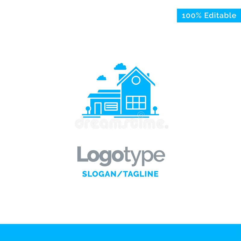 Home, House, Space, Villa, Farmhouse Blue Solid Logo Template. Place for Tagline vector illustration