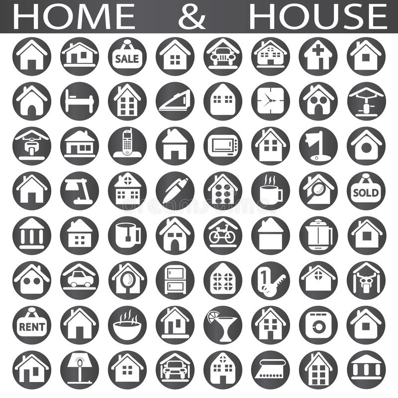 Home and house. On a white background in circles vector illustration