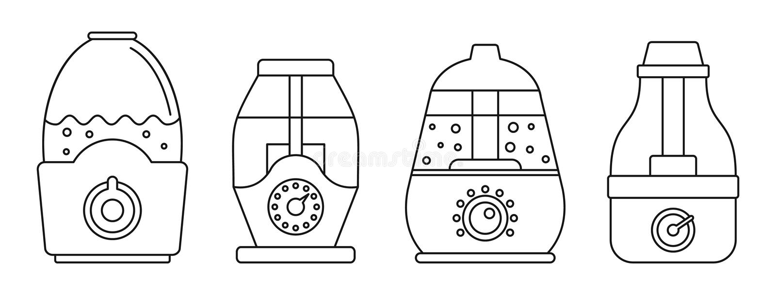 Home humidifier icon set, outline style vector illustration