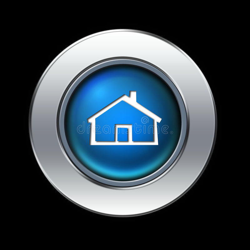 Home icon. Blue home icon with metal border over black background royalty free illustration