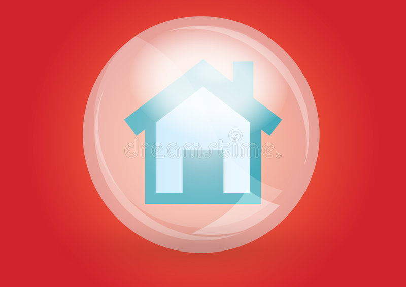 Home icon. In red background stock illustration