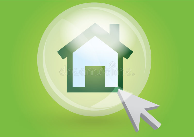 Home icon. With cursor in green background vector illustration