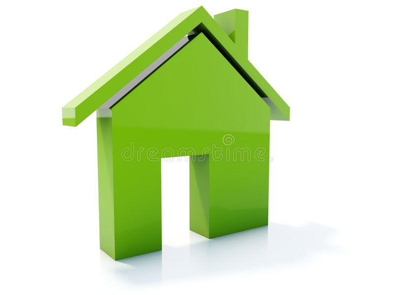 Home icon. Green home icon isolated on white vector illustration