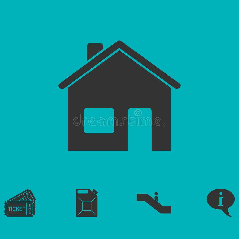 Home icon flat royalty free illustration