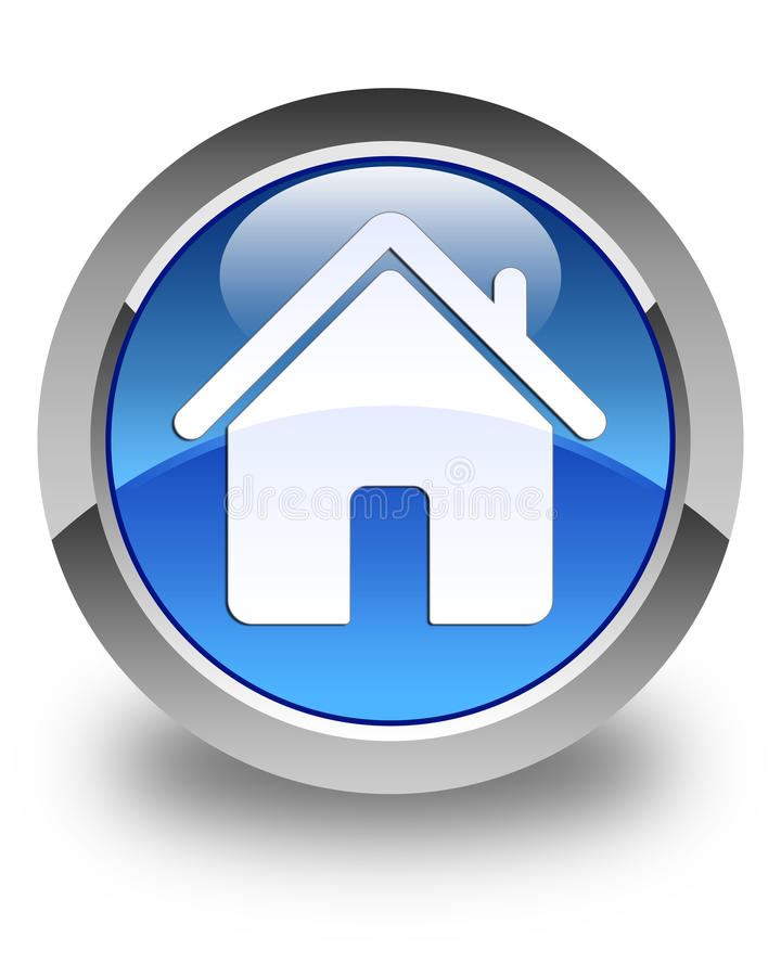 Home icon glossy blue round button stock illustration