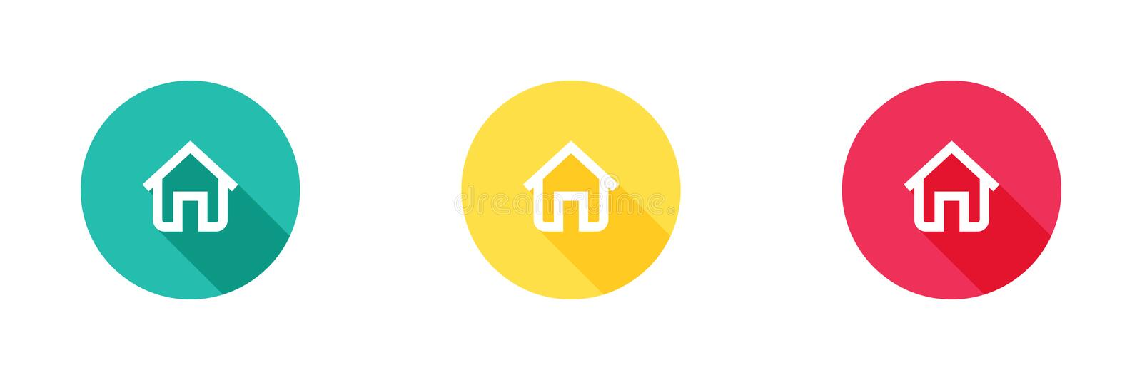 Home icon in green yellow and red background with long shadow effect, house symbol. Simple, flat design, Solid/glyph icons style vector illustration
