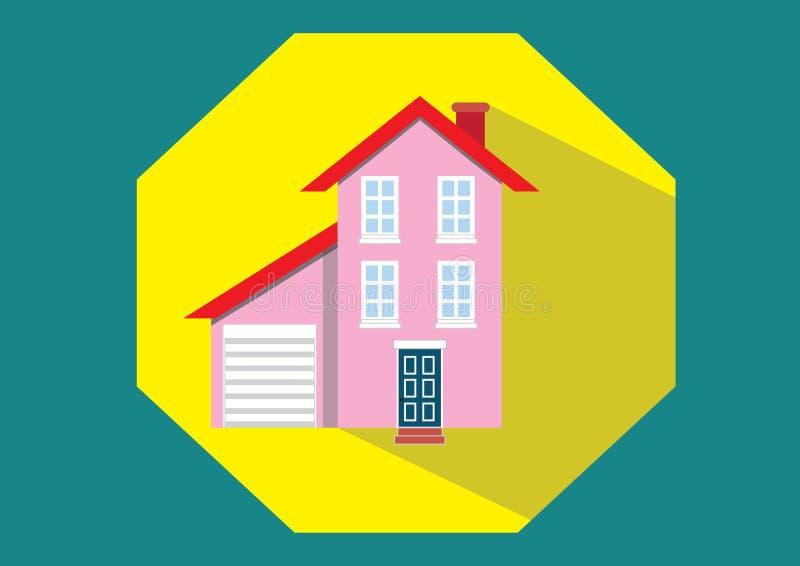 Home Icon. Pink yellow window door vector illustration