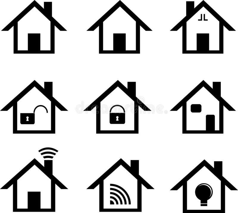 Home icon set, black and white collections vector illustration