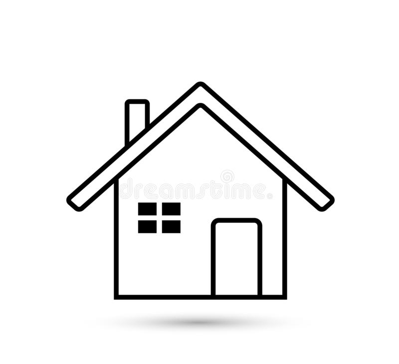 Home icon. Simple vector filled flat home or house thin line icon vector care solid blue isolated on white background stock illustration