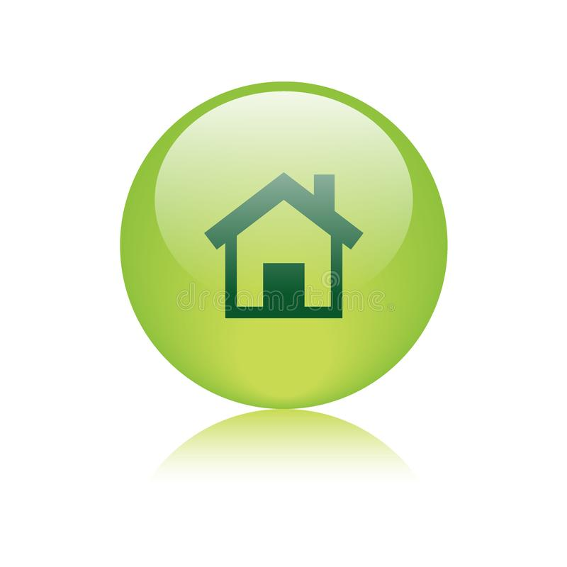 Home icon web button green stock illustration ...