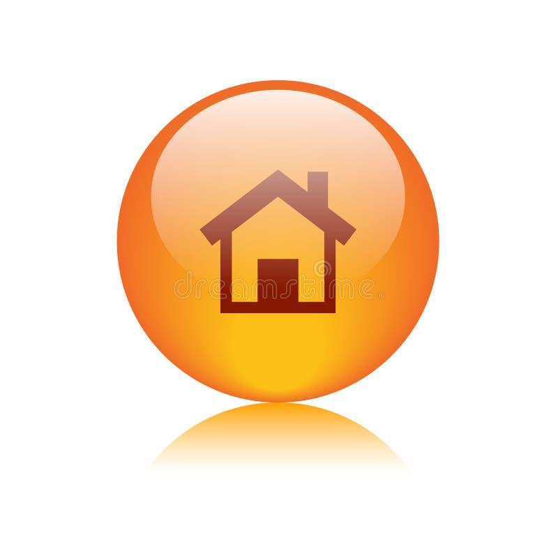 Home icon web button orange vector illustration