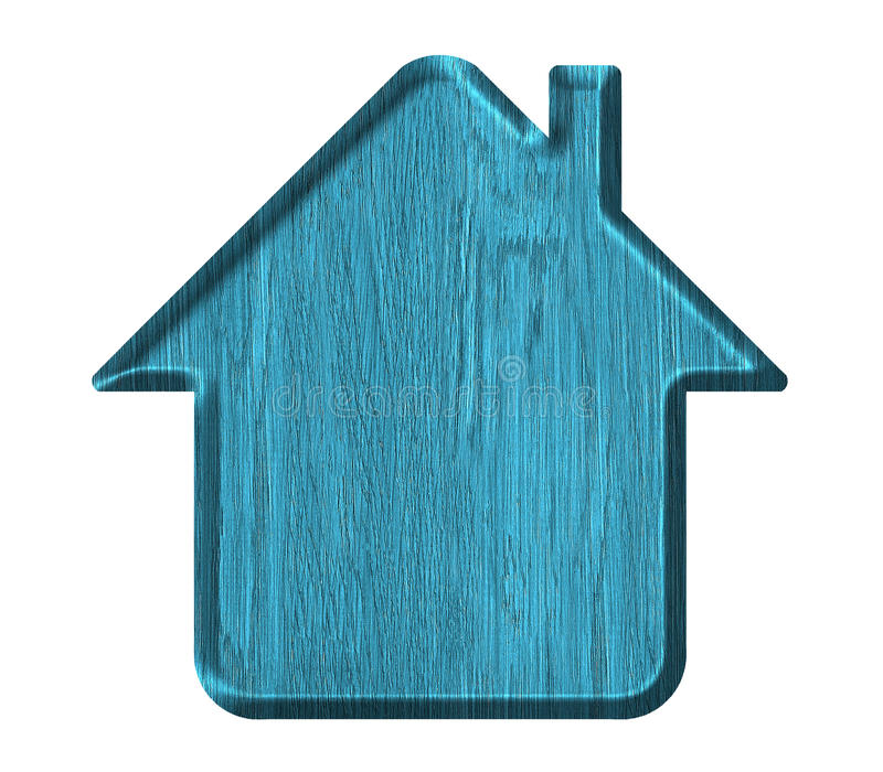 Home icon. Wood texture, Isolated on white background stock illustration