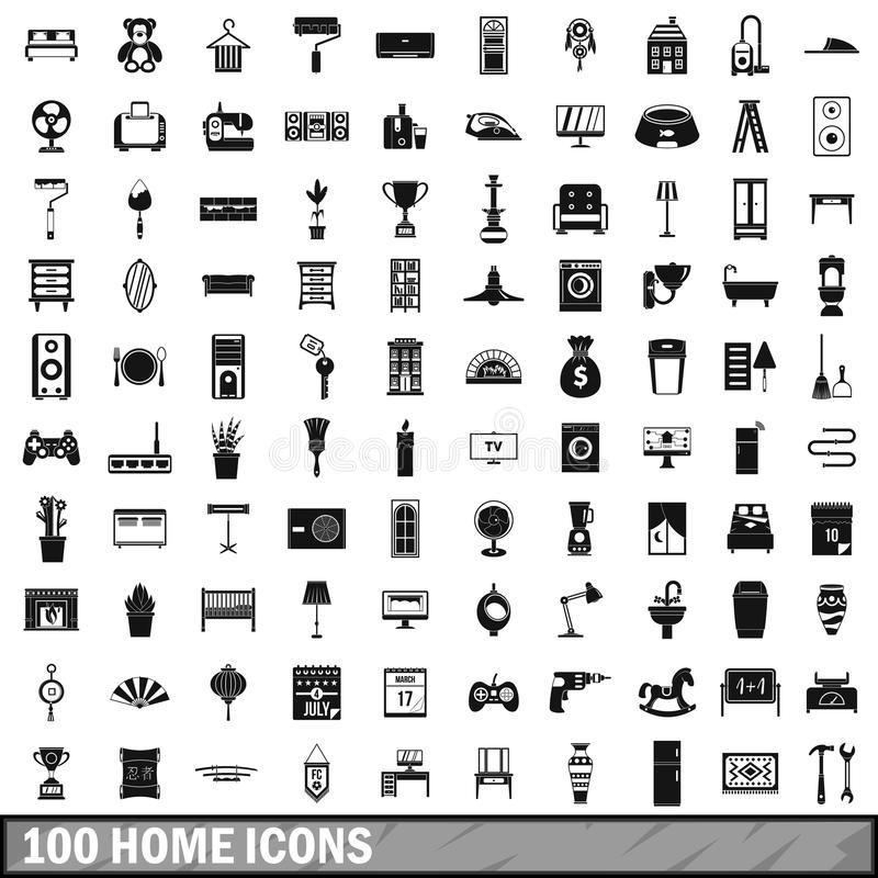 100 home icons set, simple style royalty free illustration