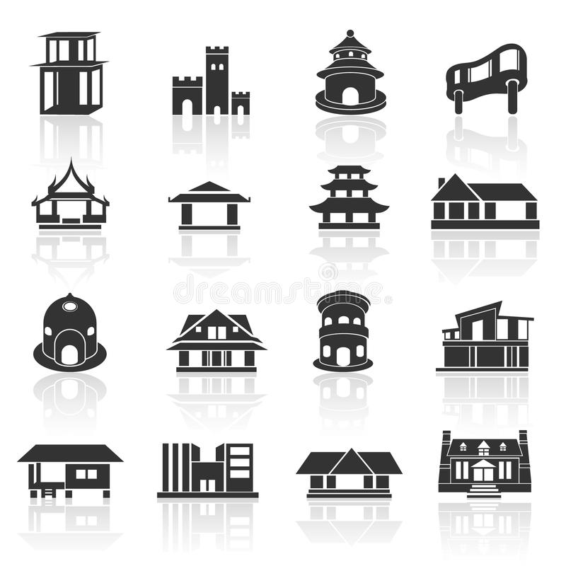 Home icons set 02 stock photo