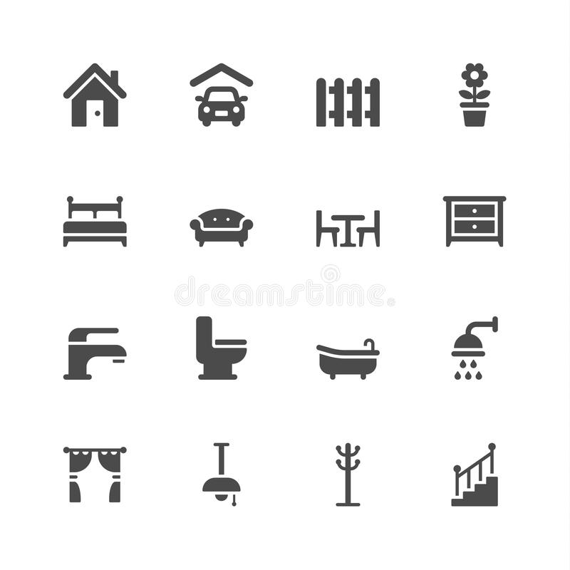Home icons. On white background vector illustration