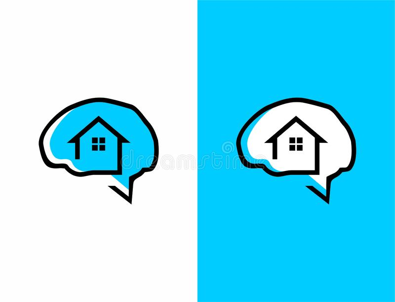 Home illustration combined with brain vector logo template stock illustration