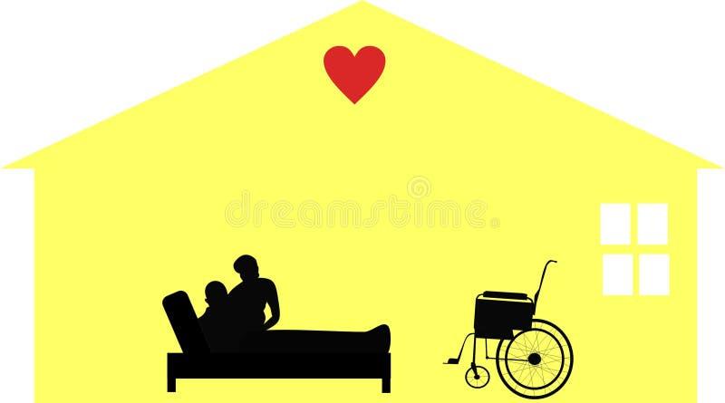 home illustrationpensionärer för omsorg royaltyfri illustrationer