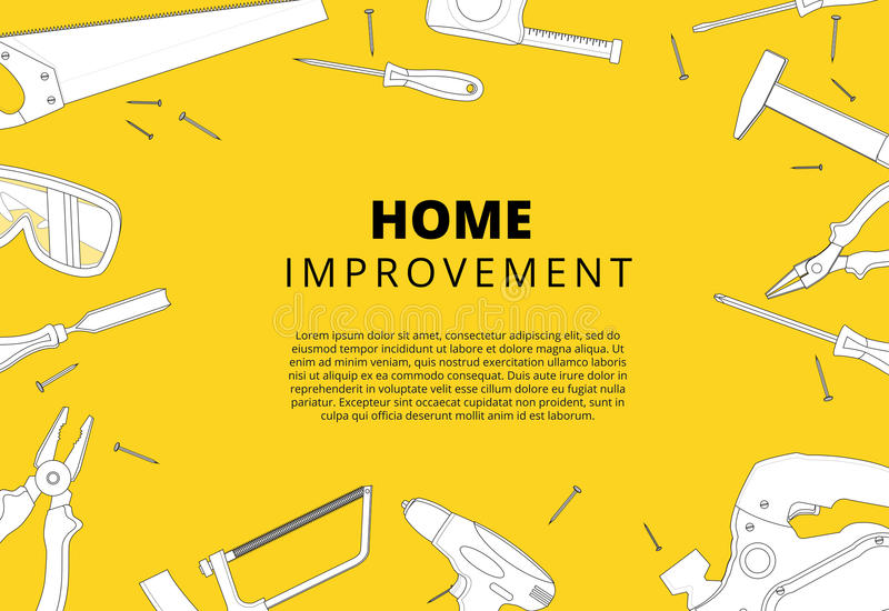 Home improvement background with repair tools. House construction layout. Renovation backdrop with carpenter instruments flat lay. Banner. Vector illustration stock illustration