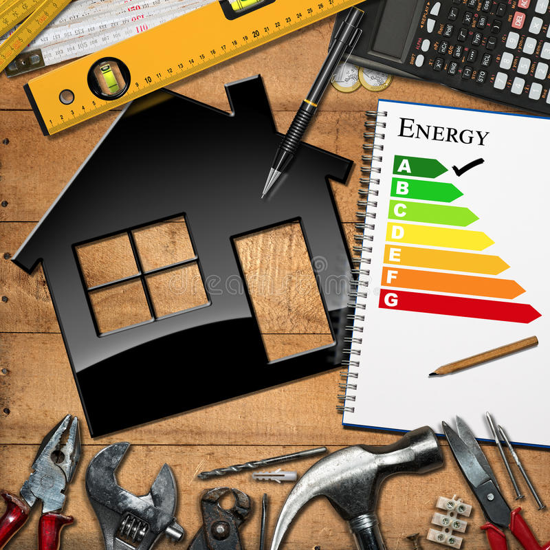 Home Improvement Concept - Energy Efficiency. Home improvement concept - House model with energy efficiency rating on a wooden table with work tools, calculator vector illustration