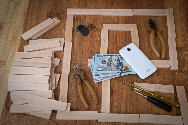 Home improvement concept. On old wood stock photography