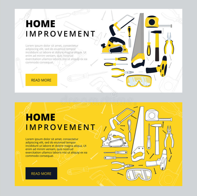 Home improvement corporate web banner template. House construction website layout. Renovation background for professional. Carpenter, handyman, builder webpage vector illustration