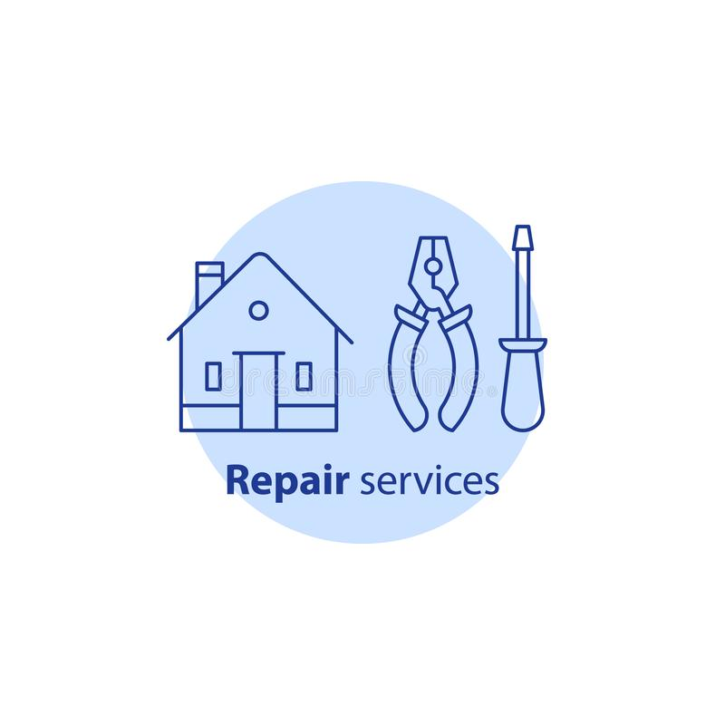 Home improvement equipment and maintenance, house repair services, pliers and screwdriver tools, vector stroke icon. House repair services, home improvement vector illustration